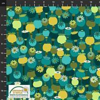 Garden Passion Multi Flower on Teal Fabric 0.5m
