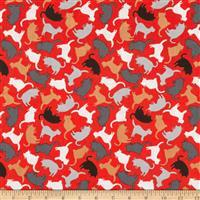 Mod Cat Kitty Silhouette Red Fabric 0.5m