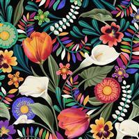 Colorido Floral Black Fabric 0.5m