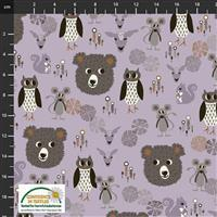 Find The Woods Bears Nature Grey Fabric 0.5m