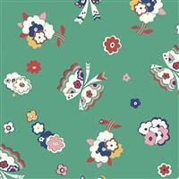 Liberty Carnaby Collection Fluttering Floral Green Fabric 0.5m