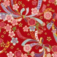 Sevenberry Gold Metallic Traditional Japanese Bows & Flowers Red Fabric 0.5m