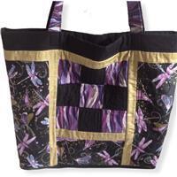 Sew with Beth Purple Sashiko Dragonfly Tote Bag