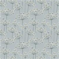 Lewis & Irene Country Life Reloved Grey Wildflower Fabric 0.5m