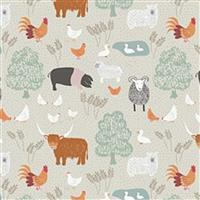 Lewis & Irene Country Life Reloved Beige Tossed Farm Animals Fabric 0.5m