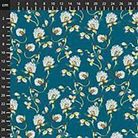Forage Tranquil Flowers on Dark Teal Fabric 0.5m