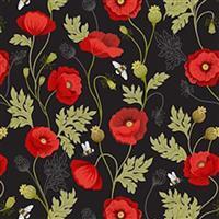 Lewis & Irene Poppies Black Poppy Fabric 0.5m