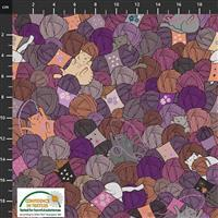 Knitting Nook Cats and Yarn Purple Fabric 0.5m