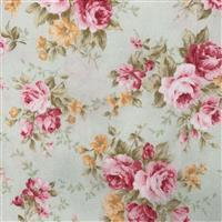Floral Story Rose Bunches on Mint Fabric 0.5m - Sewing Street exclusive