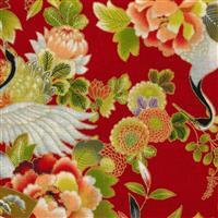 Sevenberry Gold Metallic Traditional Japanese Cranes, Floral Red Fabric 0.5m