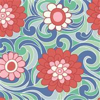 Liberty Carnaby Collection Carnation Carnival Green and Red Fabric 0.5m