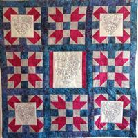 Sew with Beth Life In Full Bloom Lap Quilt Inc Backing Batik Blue / Pink