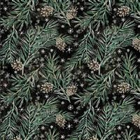 Tim Holtz Christmastime in Pine Boughs Black Fabric 0.5m