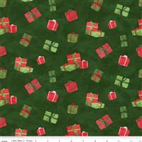 Riley Blake Gnome for Christmas Green Presents Flannel Fabric 0.5m