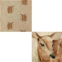 Fawn Linen Look Panel (0.46m) and Fabric (0.5m) Bundle