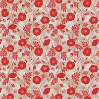 Lewis & Irene Poppies Beige Poppy Stems  Fabric 0.5m