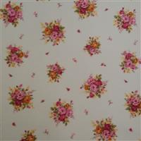 Floral Story Rose On Cream Fabric 0.5m - Sewing Street exclusive