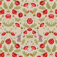 Lewis & Irene Poppies Beige Poppy Sprout Fabric 0.5m