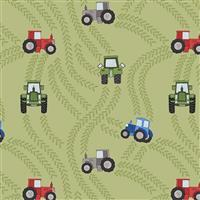 Lewis & Irene Piggy Tales Tractors On Green Fabric 0.5m