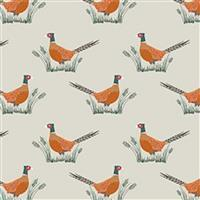 Lewis & Irene Country Life Reloved Beige Tossed Pheasants Fabric 0.5m