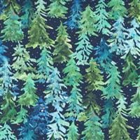 Moda Starflower Christmas Navy Forrest Fabric 0.5m