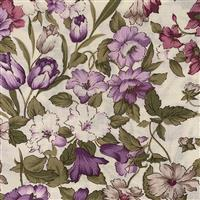 Country Floral Lilac Flowers on Cream Fabric 0.5m Exclusive