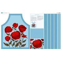 Poppy Sky Blue Apron Fabric Panel (140 x 87cm)