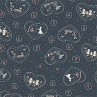 Lynette Anderson Corner Of The Woods Forest Friends Midnight Blue Fabric 0.5m