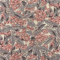 Country Floral Pink Berries Leaves on Cream Fabric 0.5m Exclusive