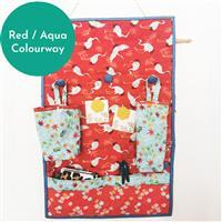 Sew Crazy Girls Cozy Couch Craft Center Kit: Fabric & Hardware Red / Aqua