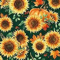 Hoffman Autumn Is In The Air Emerald Gold Sunflower Fabric 0.5m