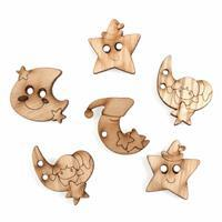 Wooden Buttons Moon Stars Pack Of 6