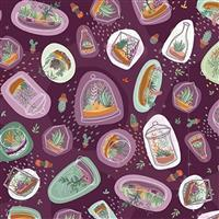 Michael Miller Greenhouse Gardens in Sprouting Plum Fabric 0.5m