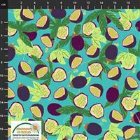 Garden Passion Leafy Fruit on Blue Fabric 0.5m