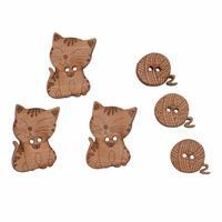 Wooden Buttons Cats Pack Of 6