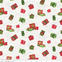 Riley Blake Gnome for Christmas Parchment Presents Flannel Fabric 0.5m