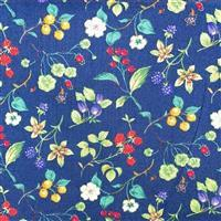 Country Floral Multi Berries on Navy Blue Fabric 0.5m Exclusive