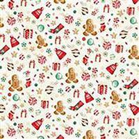 Hoffman Gingerbread Lane Natural Gold Christmas Motif Fabric 0.5m