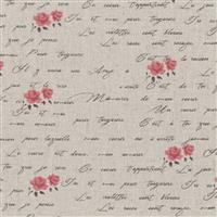 Shabby Chic Script & Pink Roses On Grey Cotton Linen Fabric 0.5m