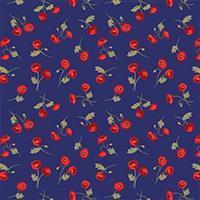 Lewis & Irene Poppies Navy Mini Poppies Fabric 0.5m