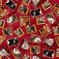 Literary Kitties Framed Kitten Fabric on Red 0.5m