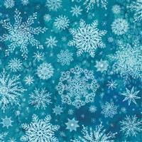 Moda Starflower Christmas Teal Snowflake Fabric 0.5m