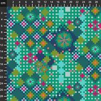 Anna Maria Horner Love Always Green Flower Pixel Fabric 0.5m