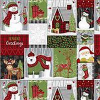 Snow Merry Seasons Greetings Panel 0.62m