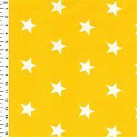 Rose & Hubble Cotton Poplin Yellow Stars Fabric 0.5m