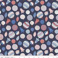 Liberty Merry & Bright Bauble Bonanza Midnight Blue Fabric 0.5m