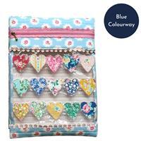 Sallieann Quilts Blue Heart Strings Project Pouch Kit: Instructions, Fabric Panel & FQ (2pcs)