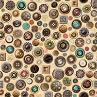 Dan Morris Sew Lovely Buttons On Cream Fabric 0.5m