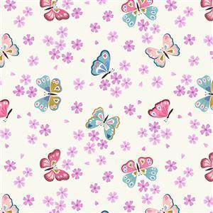 Lewis & Irene Love Blooms Butterflies On Cream Fabric 0.5m