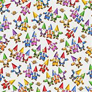 Home Sweet Gnome Garden Party on Cream Fabric 0.5m
